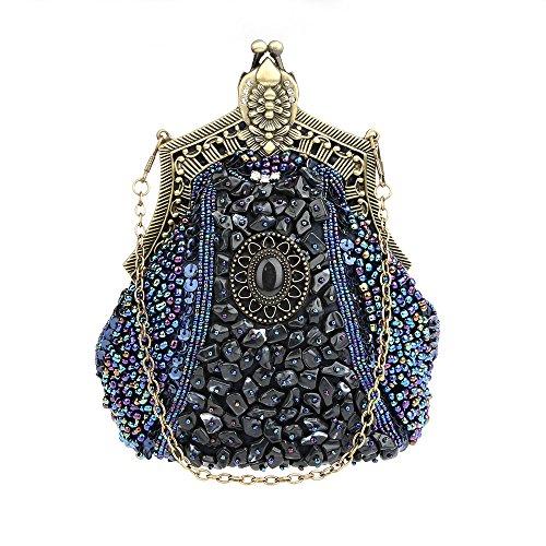KAXIDY Damen Samen-Perlen Abendtasche Hochzeit Bead-hand-knit Abschlussball Party-Abend Handtasche (Blau) -