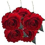 Artificial Flower,Clode® 5 Pcs Artificial Silk Flowers Rose Floral Wedding Bouquet Home Party Office Shop Decor (Red 22)