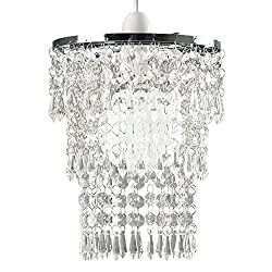 Modern Chrome Chandelier Ceiling Pendant Light Shade with Clear Acrylic Jewel Droplets