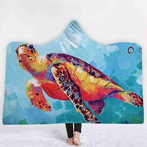 Turtle Fur Kinder Fleece (Binglin Animal Turtle Lion Wolf Sikawild 3D gedruckte Plüsch mit Kapuze Decke für Betten warme tragbare weiche Fleece-Wurfdecken für Kinder-DW32,200 * 150cm)
