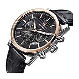 Herren-Business Quarz Uhr Schwarz Chronograph Armbanduhr Leder für Herren