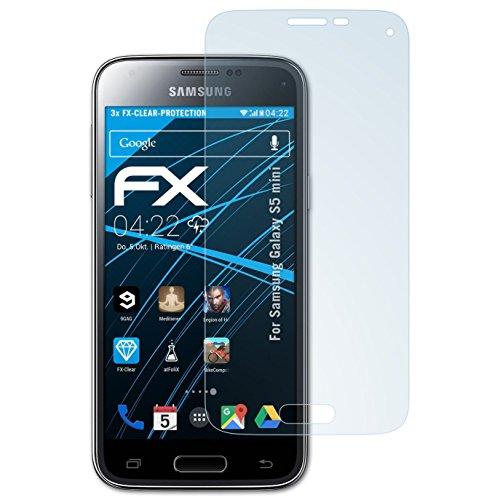 atFoliX Displayschutzfolie für Samsung Galaxy S5 mini Schutzfolie - 3 x FX-Clear kristallklare Folie (Samsung Wireless Link)