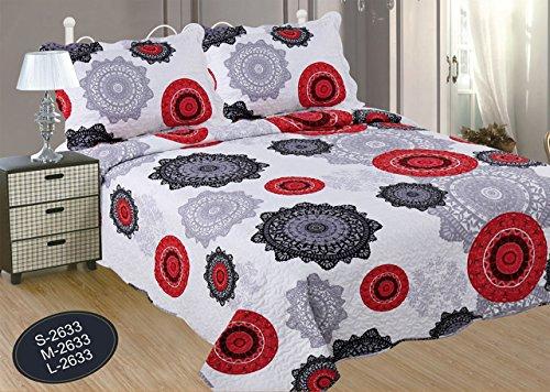 ForenTex- Colcha bouti, (M-2633), cama 135 cm, 230 y 260 cm, Estampada cosida, Mandalas Rojo y Negro, colcha barata, set de cama, ropa de cama. Por cada 2 colchas o mantas paga solo un envío (o colcha y manta), descuento equivalente antes de finalizar la compra.