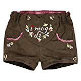 BONDI Kunstleder Short ´I mog di!´, braun 116 Tracht Baby Mädchen Artikel-Nr.85814
