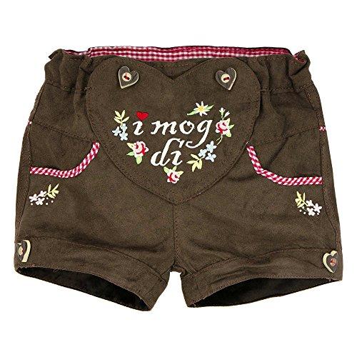 BONDI Kunstleder Short ´I mog di!´, braun 104 Tracht Baby Mädchen Artikel-Nr.85814