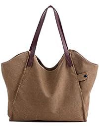 Canvas Shopper Bag Damen Handtasche Einkaufstasche mit Große Kapazität