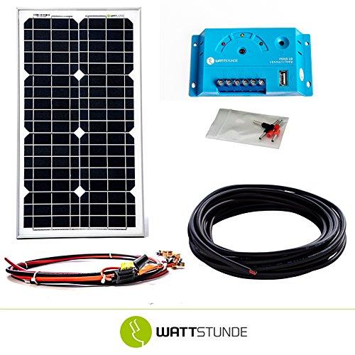 WATTSTUNDE® 30W Solaranlage 12V Solar Bausatz, Solarmodul Laderegler - Inselanlage Set Weidezaun