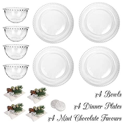 Bella Perle Dinner Party for Four - Four settings of Dinner Plate and Bowl - Gift Set with Four Boxes of Luxury Mint Chocolate Medallions - High Quality Luxury Glassware with Beaded Edge - As Used By Nigella Lawson - Perfect for Christmas/Boxing Day/New Years Dinner Party Setting for Four -