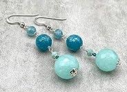 Orecchini con giada turchese quarzo blu e amazzonite, pendenti in argento 925 e pietre dure, gioielli moderni,