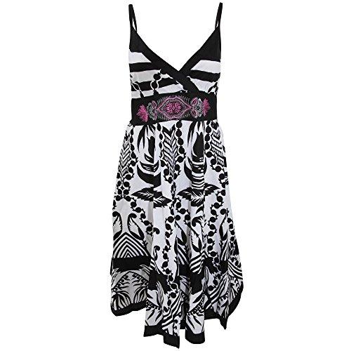 Damen Trägerkleid mit Paisley-Muster Schwarz/Weiß