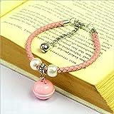 Ari_Mao Leder Katze Halskette Katzenhalsband mit Glocken und Perle für Haustier (Pink XS)