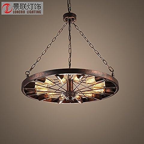 JJ Moderno LED luci pendenti di fissaggio ruota seppia lampadario stile creativo bar caffetteria bar (850 Desktop)