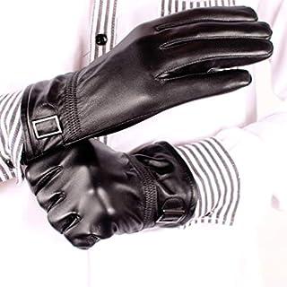 Zfggd New Leather Gloves Men's Sheepskin Gloves Winter Warm Leather Gloves Plus Velvet Thickening Outdoor Fashion