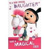 Minions-Geburtstagskarte mit den Charakteren Agnes & Fluffy, dem Einhorn, Aufschrift: Special Daughter