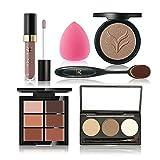 Anself Huamianli 6St Make-up Set 3 Farben Augenbrauen Pulver 6 Farben verbergen Lippenstift Pulver Puff Foundation Brush Kit