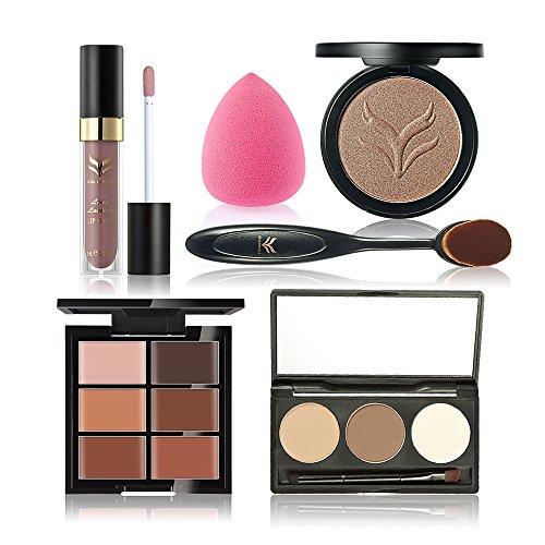 Anself 6Pcs Kit de Maquillage de 3 Couleurs Sourcils Poudre 6 couleurs Rouge à Lèvres Correcteur Powder Puff Foundation Kit Brosse