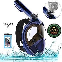 Marlrin Masque de Plongée, Masque de Snorkeling Panoramique Plein Visage 180° Visible Anti-Brouillard Anti-Fuite pour Adulte et Enfant (Bleu, S-M)