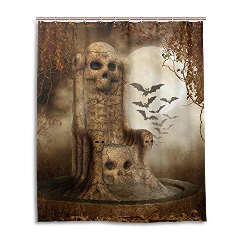 Vorhänge Dusche für Badezimmer Flying Fledermäuse auf Dark Blue Sky für Halloween Polyester Stoff wasserdicht Bad Vorhang Vorhang für die Dusche Haken enthalten 179,8x 179,8cm (Halloween-dusche Vorhang-set)