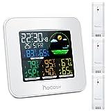 HOCOSY Farbe Wireless Wetterstation,Temperatur Luftfeuchtigkeit Monitor Gauge Mit 3 Außensensor,3 Kanäle Digital In & Outdoor Hygrometer Thermometer,Wecker Funktion, Uhrzeit/Datum, Weiß
