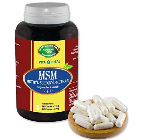 MSM Kapseln 180 Kapseln (Methylsulfonylmethan, Organischer Schwefel) je 650mg rein natürliches Pulver, ohne Zusatzstoffe, bei Haarausfall uvm.