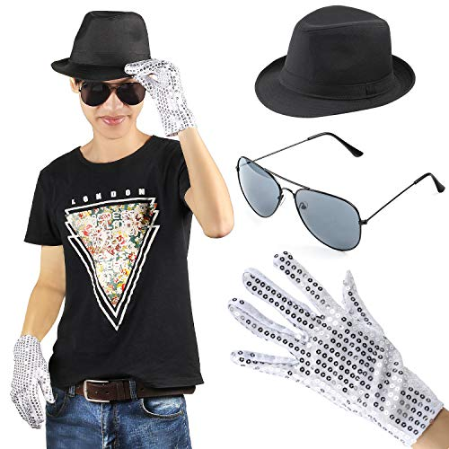 Beelittle MJ Michael Jackson Performance Kit Kostüm Zubehör Set - Fedora Hut Pailletten Handschuh und (Kinder Aviator Kostüm)