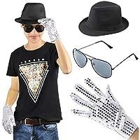 c90dde7995e9 Beelittle MJ Michael Jackson Performance Kit Set di Accessori per Costumi -  Fedora Hat Sequin Glove