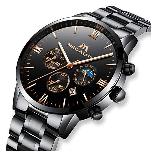 Montres Homme Montre Bracelets de Luxe Militaire Etanche Chronographe Sport Design Noir Acier Inoxydable Montre pour Homme Calendrier de Date Chronomètre Analogique