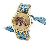 HUIHUI Uhren Damen, Geflochten Armbanduhren Günstige Uhren Wasserdicht Casual Elefant Muster gewebt Seil Band Armband Quarzuhr Coole Uhren Lederarmband Mädchen Frau Uhr (Gelb + Blau)