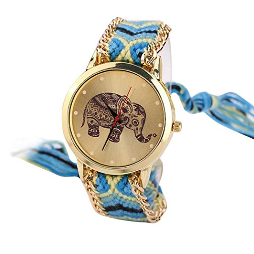 HUIHUI Uhren Damen, Geflochten Armbanduhren Günstige Uhren Wasserdicht Beliebte Casual Elefant Muster gewebt Seil Band Armband Quarzuhr Coole Uhren Lederarmband Mädchen Frau Uhr (Gelb + Blau)