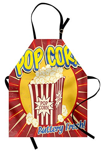ABAKUHAUS, Retro Waschbar, Farbfest Höhenverstellbar Waschbarer Klarer Digitaldruck, Popcorn Illustration in Retro Hipster Hippie Stil Vintage Buttery Fresh Druck, Rot Blau Gelb