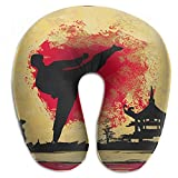 Vidmkeo Karate Grunge Style Neck Head Support Travel Rest U Shaped Pillow for Airplane Train Car Bus Office