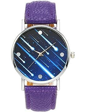 JSDDE Fashion Armbanduhr Meteor Muster Zeitloses Design Silber Analog Quarzuhr Lederarmband Kleid Uhren,Lila