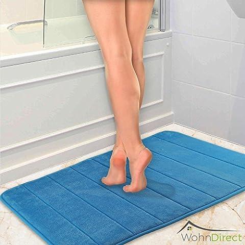 Tapis de bain design parfumé  Tapis de bain antidérapant   Lavable & Sèche rapidement   Sortie de douche microfibre moderne   Tapis de bain pour la salle de bains   Doux & Moelleux   50 x 80 cm - Bleu