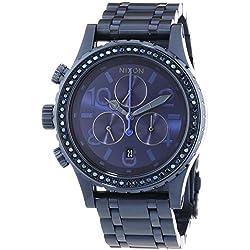 Nixon 38-20 Chrono All Deep Blue Crystal - Reloj de cuarzo para mujer, correa de acero inoxidable color azul