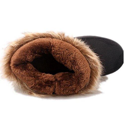 TAOFFEN Damen Classic Warm Flache Schuhe Stiefeletten Winter Fur Boots Winterstiefel Schwarz-3