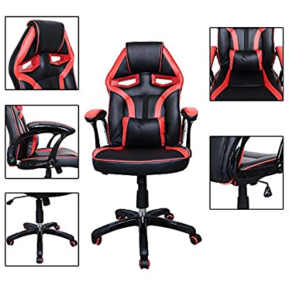 51Hr%2Bmp9oQL. SS416  - HG Silla Giratoria De Oficina Gaming Chair Apoyabrazos Acolchados Premium Comfort Silla Racing Capacidad De Carga 200 Kg Altura Ajustable Negro/Rojo