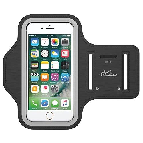 "MoKo iPhone 6S Armband - Sweatproof Joggen Laufen Sport Armband Handy Hülle Schutzhülle + Schlüsselhalter Kopfhörer Anschluss für Apple iPhone 6 / 6S 4.7 Zoll, Smartphone bis zu 5.2"", Schwarz"