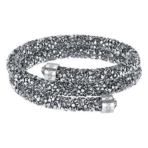Swarovski bracciale rigido crystaldust double, grigio