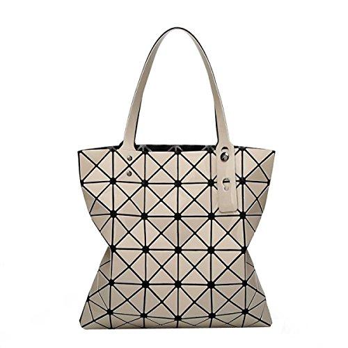 Frauen-beiläufige Art Und Weise Geometrisch Matte Falten Ling Gitter Taschen Lightbrown