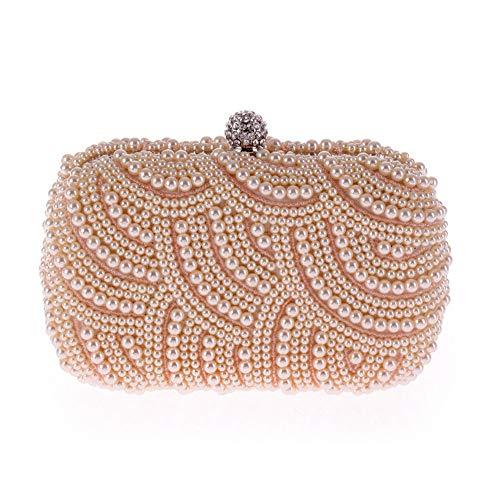 Neue Clutch Handtasche Tasche (LLUFFY-Clutch Handtasche Neue exquisite armband perle abendgesellschaft tasche damenmode kupplung, 19 * 9 * 5 cm, champagner)