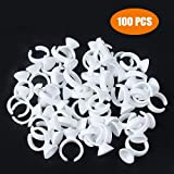 Eyelash Glue Holder 100PCS Disposable Plastic Glue Ring Nail Art Polish Holders Tattoo Individual False Eyelash Extension Adhesive Pigment Holders Beauty Tool (Small Size)