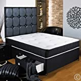 """Hf4you Black Memory Soft Divan Bed - 4ft 6"""" Double - 2 Drawers Footend - No Headboard"""