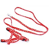 TOOGOO(R)Polyester Knochen Druck Muster Haustier Hundeleine - Rot