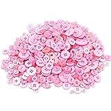 Demarkt Knöpfe zum Basteln DIY aus Harz 7-28mm etwa 660 Stück Rosa Serie