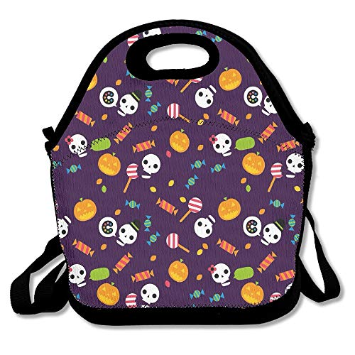 (Halloween Skull Pumpkin Candy Holiday Portable Lunch Box Bag Insulated Waterproof Travel Handbag For Women, Adults, Kids,and Girls)