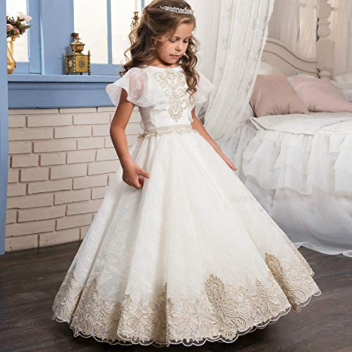 Kleines Mädchen Prinzessin Kleid Court Retro Full Bud Band Schal Mädchen Pettiskirt Blumenmädchen Hochzeit Geburtstag Party Langes Ball Party Kleid Party Dress Up Kostüm Queen Princess Halloween Kos