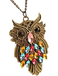 Phabdeals Cute Multi Color Crystal Owl Bronze Pendant With Chain For Women