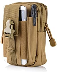 Khaki : Outdoor Military Tactical Belt Waist Bags Waterproof Mobile Phone Wallet Travel Sport Waist Pack Camping...