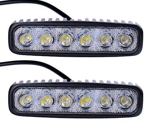 Leetop Lot de 2 Phares LED 18W Blanc Froid Ampoule pour Phare de Travail Feux Arrière de Voiture étanche IP67