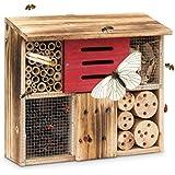 Relaxdays Casetta per insetti legno venato HLP 29 x 33 x 13,5 rifugio per coleotteri hotel per api tetto piano beige